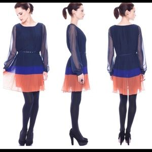 French Connection Pleated Long Sleeve Dress